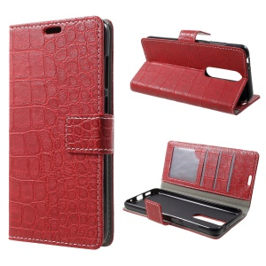Crocodile Texture PU Leather Wallet Protective Case for Nokia 5.1 Plus / X5 - Red