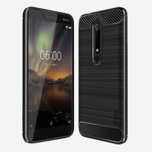 MOFI Carbon Fiber Texture Brushed TPU Protection Mobile Phone Case for Nokia 6.1 (5.5-inch) - Black