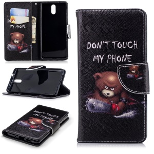 Pattern Printing Wallet Leather Case with Stand for Nokia 3.1 - Brown Bear and Warning Words