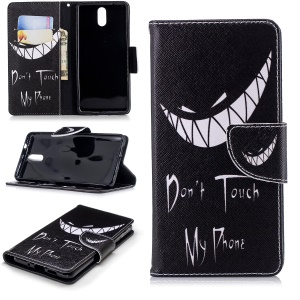 Pattern Printing Wallet Leather Cover with Stand for Nokia 3.1 - Do not Touch My Phone