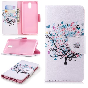 Pattern Printing Magnetic Leather Stand Cover for Nokia 3.1 - Flowered Tree