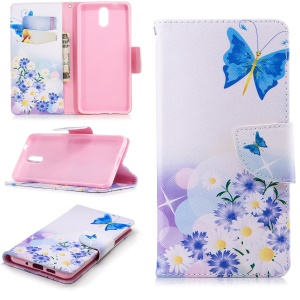 Pattern Printing Leather Wallet Case for Nokia 3.1 - Blue Butterfly and Flowers