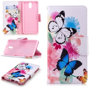 Pattern Printing Wallet Leather Magnetic Case for Nokia 3.1 - Vivid Butterflies