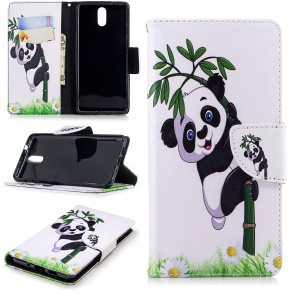 Pattern Printing Wallet Leather Stand Cover for Nokia 3.1 - Panda Pattern
