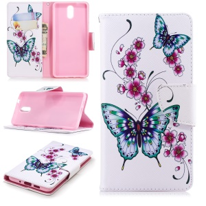 Pattern Printing Wallet Leather Stand Cover Shell Case for Nokia 3.1 - Butterfly and Flower