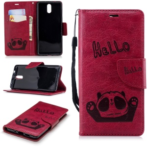 Imprinted Hello Panda Wallet Leather Stand Phone Cover for Nokia 3.1 - Rose