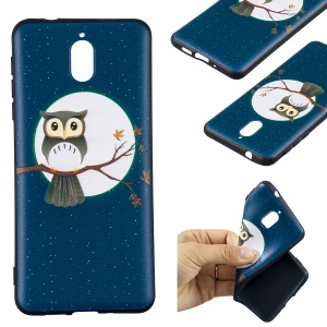 Pattern Printing Embossed TPU Cell Phone Case for Nokia 3.1 - Owl on the Branch