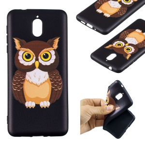 Pattern Printing Embossed TPU Phone Cover Case for Nokia 3.1 - Brown Owl