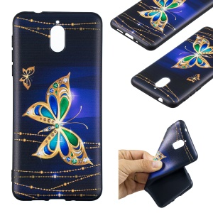 Pattern Printing Embossed TPU Protective Case for Nokia 3.1 - Colorized Butterfly
