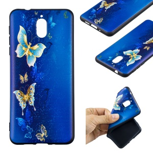 Pattern Printing Embossed TPU Mobile Phone Case for Nokia 3.1 - Butterfly Pattern