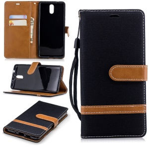 Assorted Color Jeans Cloth Wallet Stand Leather Case for Nokia 3.1 - Black
