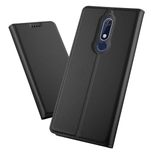 Auto-absorbed Leather Card Holder Case with Stand for Nokia 5.1 - Black