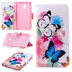 Pattern Printing PU Leather Protection Cell Phone Cover for Nokia 2.1 - Butterflies and Flowers