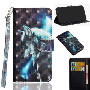 Pattern Printing Leather Wallet Cover for Nokia 2.1 - Wolf Pattern