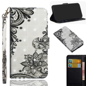 Pattern Printing Leather Wallet Case Shell for Nokia 2.1 - Black Flower