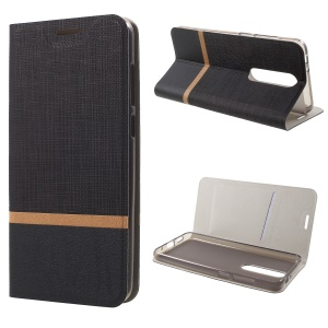 Cross Texture PU Leather Card Holder Phone Casing for Nokia 5.1 Plus / X5 - Black