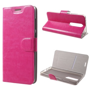 Crazy Horse Texture Stand Leather Card Holder Mobile Case for Nokia 5.1 Plus / X5 - Rose