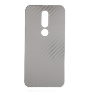 Electroplated Metal Bumper + Carbon Fiber PC Back Panel Slide-on Protection Mobile Case for Nokia 6.1 Plus / X6 (2018) - Silver