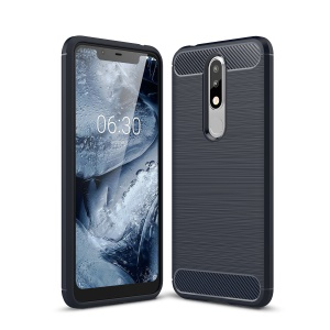 Carbon Fiber Texture Brushed TPU Cell Phone Cover for Nokia 5.1 Plus /  X5 (China) - Dark Blue