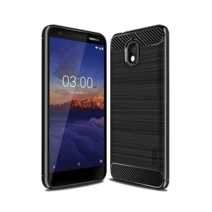 MOFI Carbon Fiber Texture Brushed TPU Back Case for Nokia 3.1 - Black