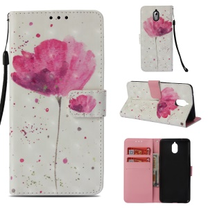 Pattern Printing Wallet Leather Cover with Stand for Nokia 3.1 - Vivid Flower