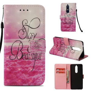 Pattern Printing Leather Wallet Shell for Nokia 5.1 - Stay Beautiful