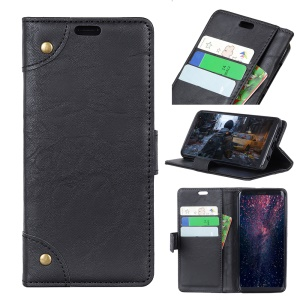 Retro Style Leather Wallet Case for Nokia 6.1 Plus / X6 - Black