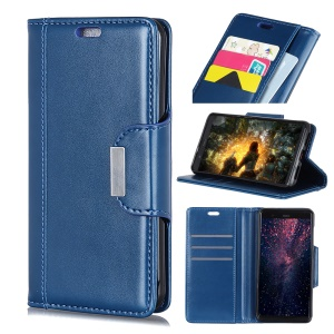 Leather Wallet Stand Flip Phone Cover Case for Nokia 5.1 - Blue