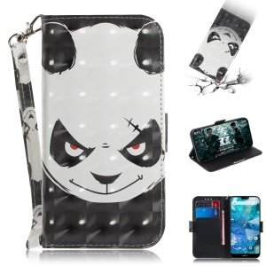 For Nokia 7.1 Patterned Leather Case [Wallet] [Stand] [Light Spot Decor] - Angry Panda