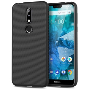 Twill Texture TPU Back Mobile Case for Nokia 7.1 - Black