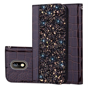 Crocodile Texture Glittery Sequins Splicing PU Leather Stand Case for Nokia 3.1 - Black