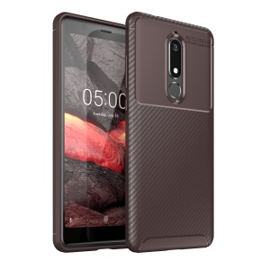 For Nokia 5.1 Beetle Series TPU Case Carbon Fiber Mobile Shell - Brown