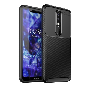 Beetle Series Carbon Fiber TPU Soft Phone Case for Nokia 5.1 Plus/X5 - Black
