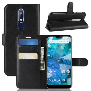 Litchi Skin PU Leather Cell Phone Case for Nokia 7.1 - Black