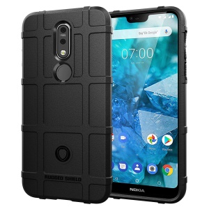 Anti-shock Square Grid Texture Soft TPU Phone Case for Nokia 7.1 - Black