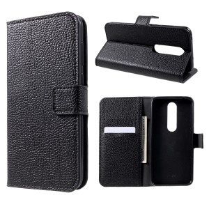 Litchi Skin Wallet Leather Stand Case for Nokia 6.1 Plus / X6 - Black