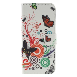 Pattern Printing PU Leather Stand Phone Cover for Nokia 5.1 Plus / X5 - Butterfly and Circle