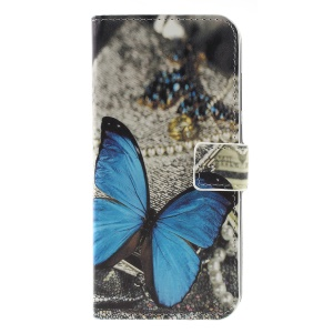 Pattern Printing Leather Magnetic Mobile Case for Nokia 5.1 Plus / X5 - Blue Butterfly