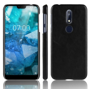 Litchi Skin Leather Coated Hard PC Case for Nokia 7.1 - Black