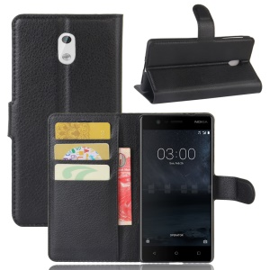 Lychee Skin Leather Wallet Case for Nokia 3 - Black