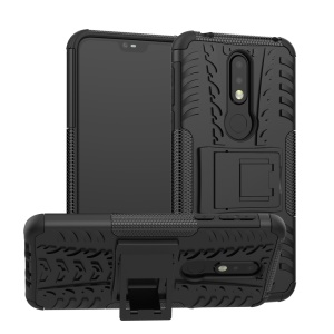 Anti-slip PC + TPU Hybrid Case with Kickstand for Nokia 7.1 - Black