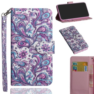 [Light Spot Decor] Pattern Leather Wallet Cover for Nokia 7.1 - Paisley Flower