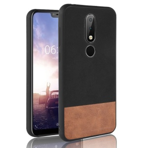 Custodia Ibrida Bicolore In PU Rivestita In Pelle PC + TPU Per Nokia X6 / 6.1 Plus - Nero