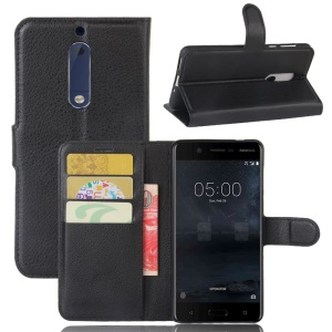 Litchi Skin Wallet Leather Stand Case for Nokia 5 - Black