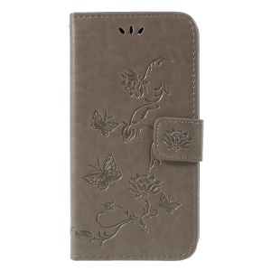 Imprint Butterfly Flower Wallet Stand Leather Case for Nokia 7.1 - Grey