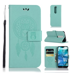 Imprint Owl Dream Catcher Card Holder Leather Phone Shell for Nokia 7.1 - Cyan