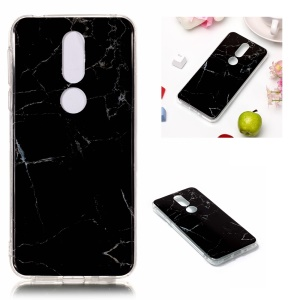 Marble Pattern Printing IMD Soft TPU Back Case for Nokia 7.1 - Black