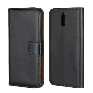 Genuine Leather Wallet Stand Cell Phone Case Cover for Nokia 3.1 - Black