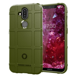 Anti-shock  Square Grid Texture TPU Cover for Nokia 8.1 / X7 (China) - Army Green