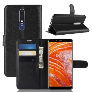 Litchi Skin Wallet Leather Stand Case for Nokia 3.1 Plus - Black